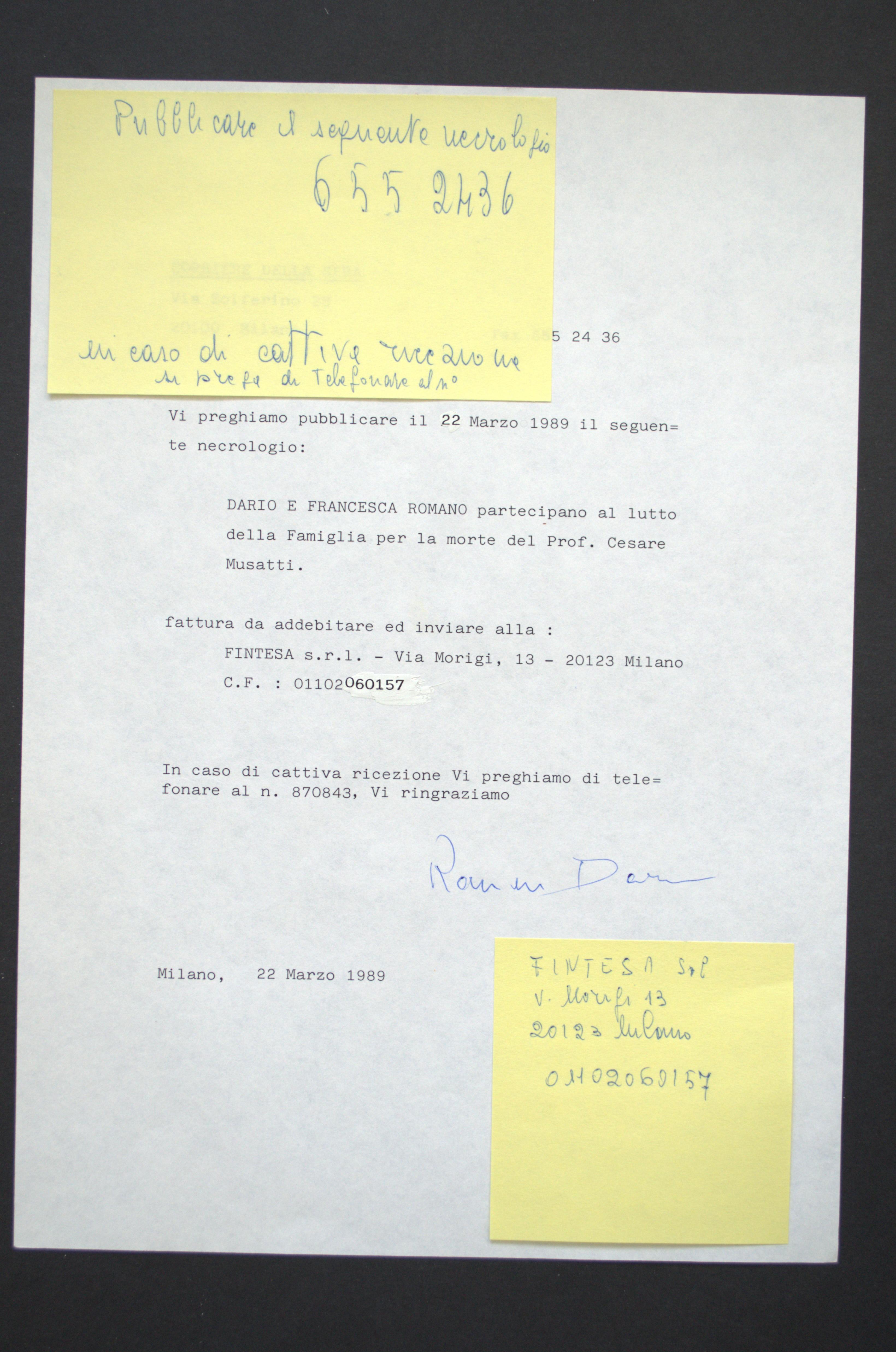 Necrologi per cesare musatti 1989 marzo 21 1989 marzo for Necrologio corriere della sera