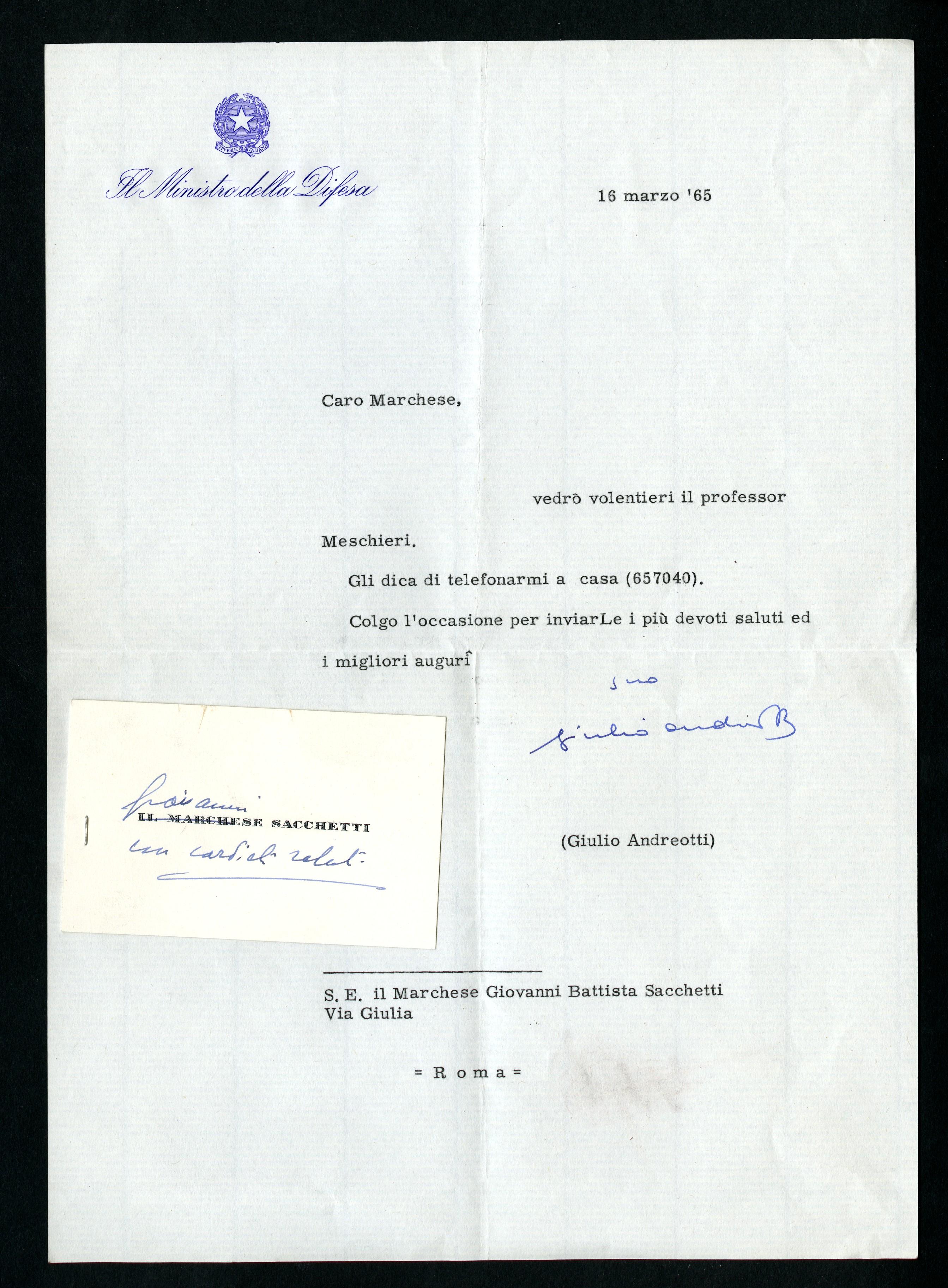 Andreotti Giulio a Giovanni Battista Sacchetti - Aspi - Archivio ... 9052cbed0b8c