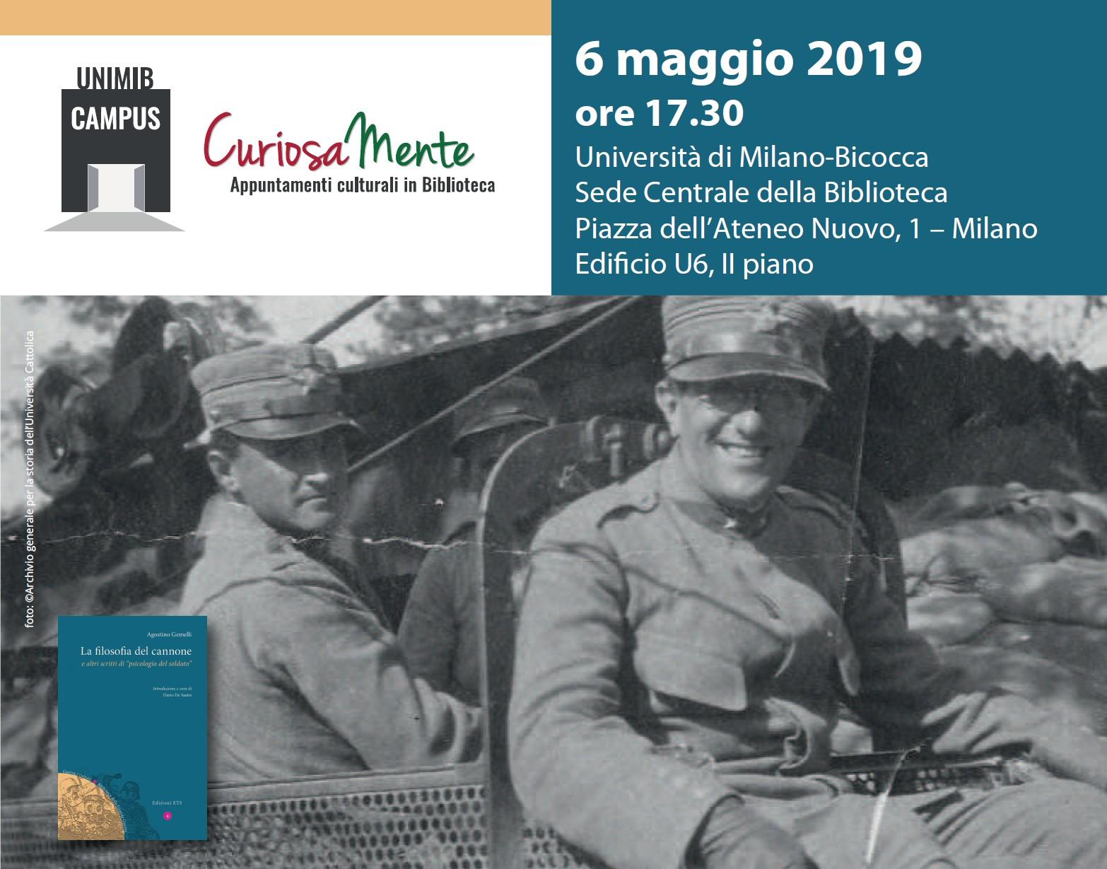 """Presentazione del libro """"Agostino Gemelli. La filosofia del cannone e altri scritti di psicologia del soldato"""""""