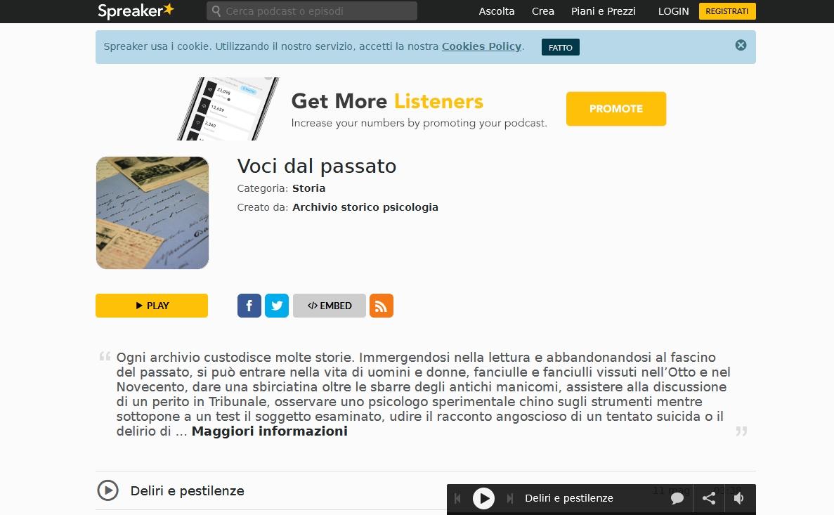 """Canale podcast """"Voci dal passato"""""""