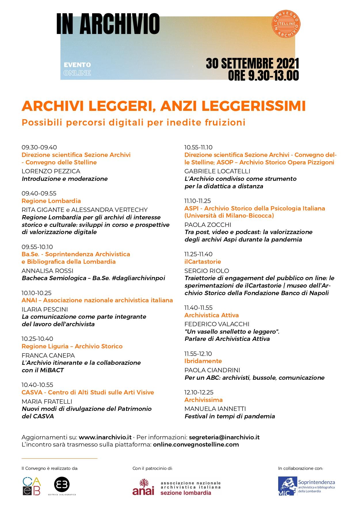 """Convegno """"In Archivio. Archivi leggeri, anzi leggerissimi"""""""